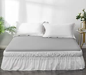 Ayasw Bed Skirt 13 14 Inch Drop Dust Ruffle Three Fabric Sides Wrap Around With Elastic No Top Easy On Queen White Kitchen Dining Amazon Com