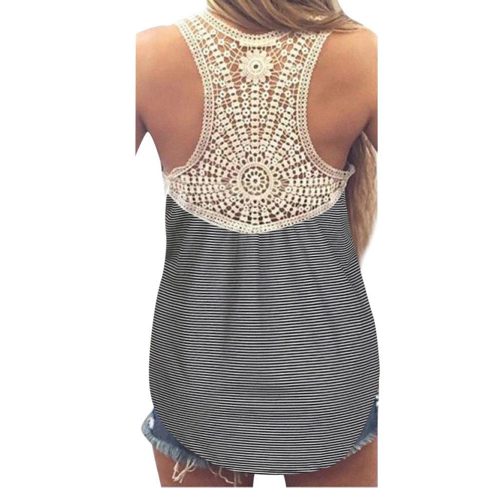 Winsummer Women Vest, Women's Summer Lace Stripe Vest Sleeveless Blouse Casual Loose Tunic Tank Tops T-Shirt Black