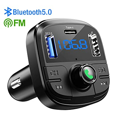Bluetooth FM Transmitter for Car, Clydek BT 5.0 & QC3.0 Car Bluetooth Adapter Wireless Bluetooth FM Radio Adapter with 5 EQ Mode, 3 Charging Ports Support USB Disk, TF Card Hands-Free Car Kits: MP3 Players & Accessories