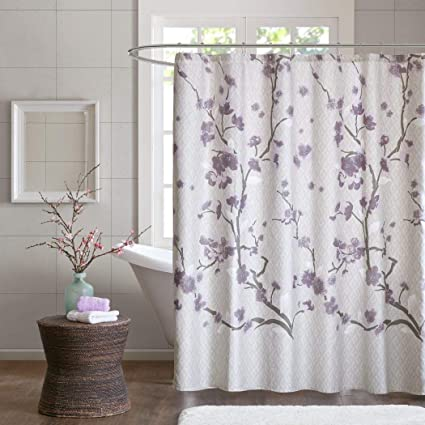 1pc Purple Beige Brown Graphical Nature Themed Shower Curtain Classic Elegant Design Bright Color