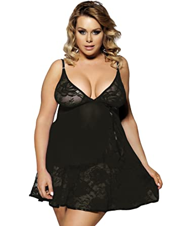 fd46fc0308 Sexy Blue Black Babydoll Lace Lingerie Flattering Plus Size 16 18 20 22 24  XL  Amazon.co.uk  Clothing