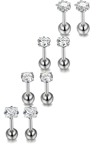 bdc1ea98d Amazon.com: ORAZIO 8Pcs 18G Stainless Steel Stud Earrings Piercing Barbell  Studs Cartilage Helix Ear Piercing CZ Inlaid: Jewelry