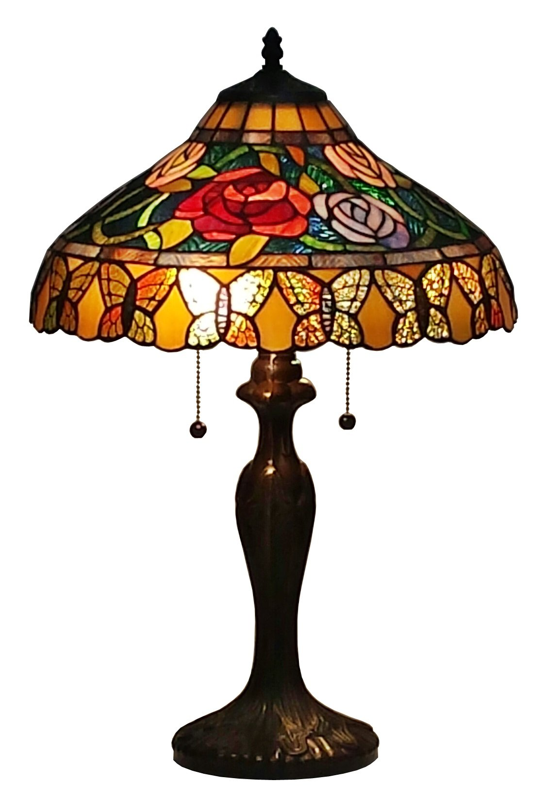 Amora Lighting AM060TL16 Tiffany Style Roses And Butterflies Table Lamp, 16'' x 24''