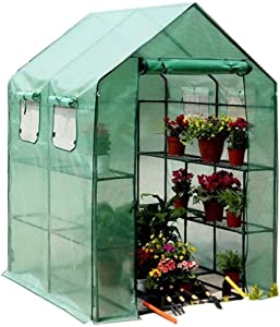 FBKPHSS Large Greenhouse, Portable Outdoor Garden Patio Walk-in Greenhouse with Doors and Windows Waterproof Greenhouse for Protect Plants