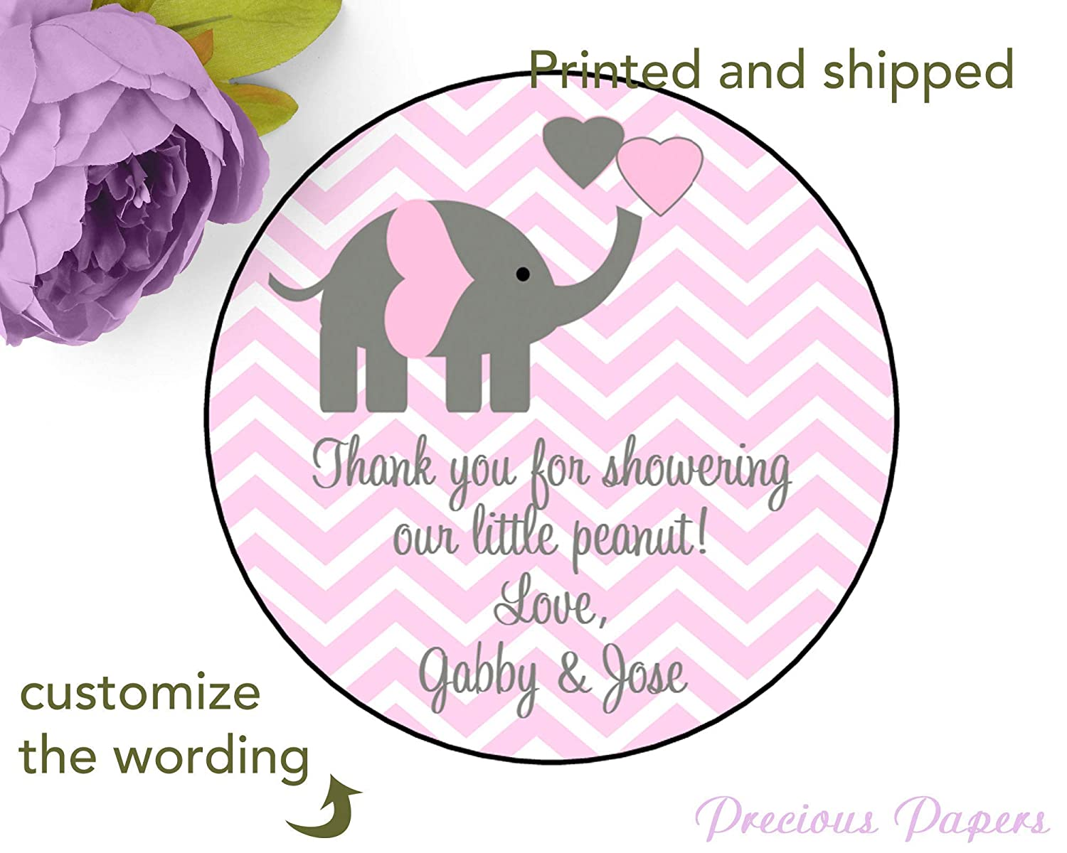 Yellow Chevron Elephant Stickers Personalized Printed Set of 24 Baby Shower Stickers
