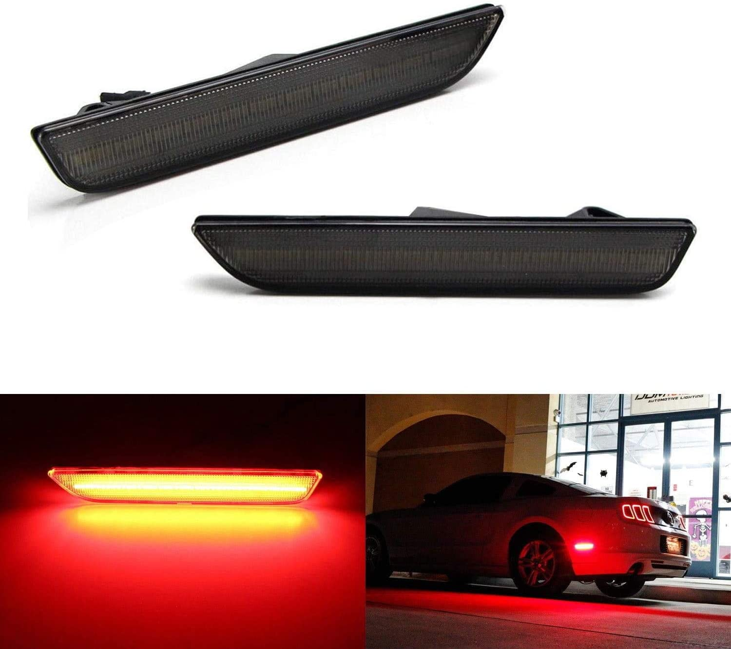 Smoked Lens Pure White LED Front Side Marker  Lights For 2010-2014 Ford Mustang
