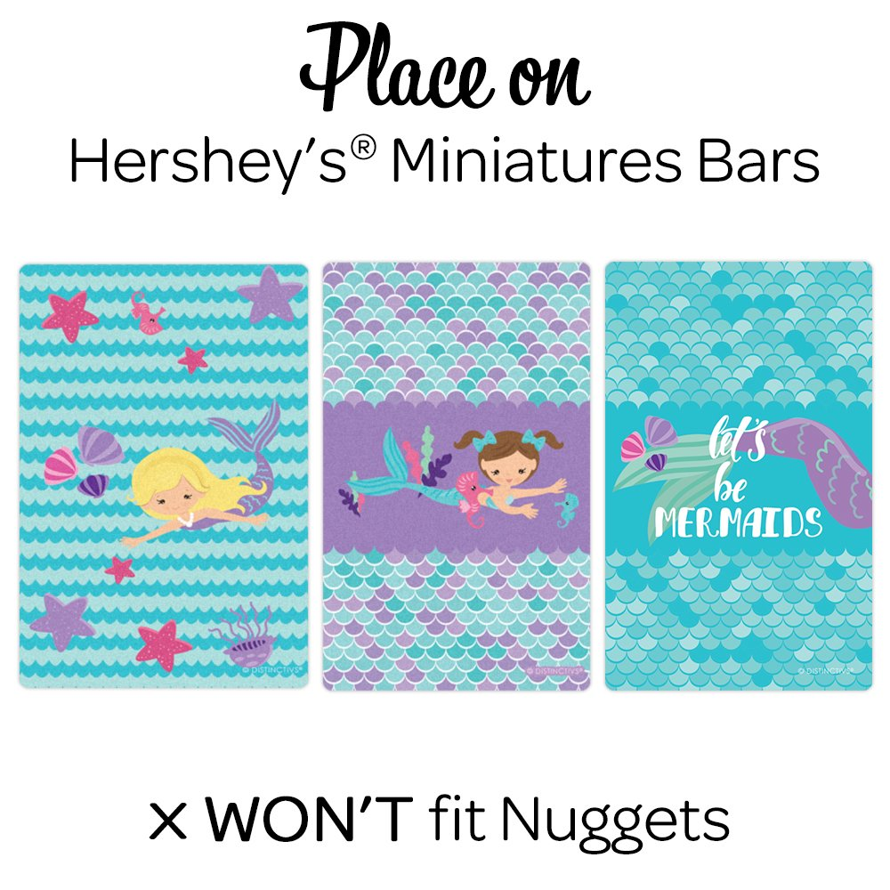 54 Stickers Mermaid Party Mini Candy Bar Wrappers