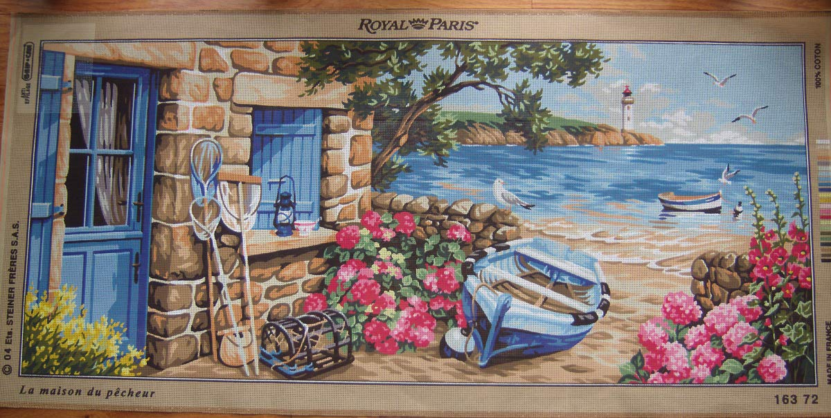The Fisherman's Place Very Large Needlepoint Printed Canvas, NOT A KIT ROY PARIS