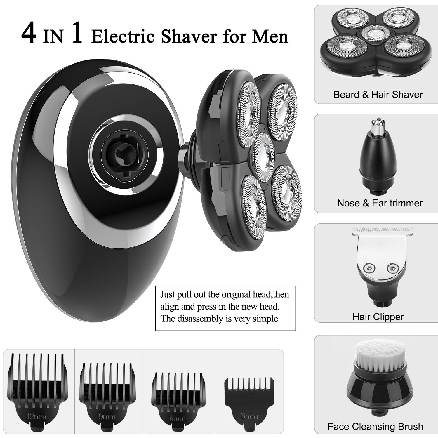 4 In 1 Eelctric Shaver Razor & Trimmer Sets, Cordless Bald Head Shaver for Men