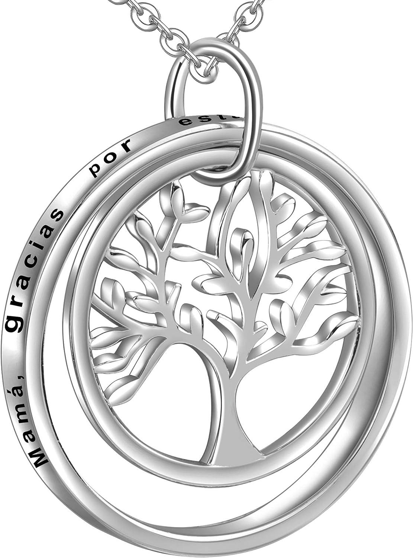 LOVORDS Collar Mujer Grabado Plata de Ley 925 Colgante Árbol de la Vida Familiar Círculo Regalo Madre Mamá Esposa Novia Abuela Hija