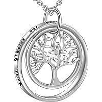 LOVORDS Collar Mujer Grabado Plata de Ley 925 Colgante Árbol de la Vida Familiar Círculo Regalo Madre Mamá Abuela