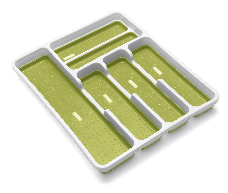 Addis Premium Anti-Slip Soft Base Drawer Cutlery Organiser Tray, White/Green 517612