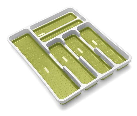 ADDIS alfombrilla antideslizante suave Base Cajón Organizador de cubiertos con bandeja, color blanco/verde