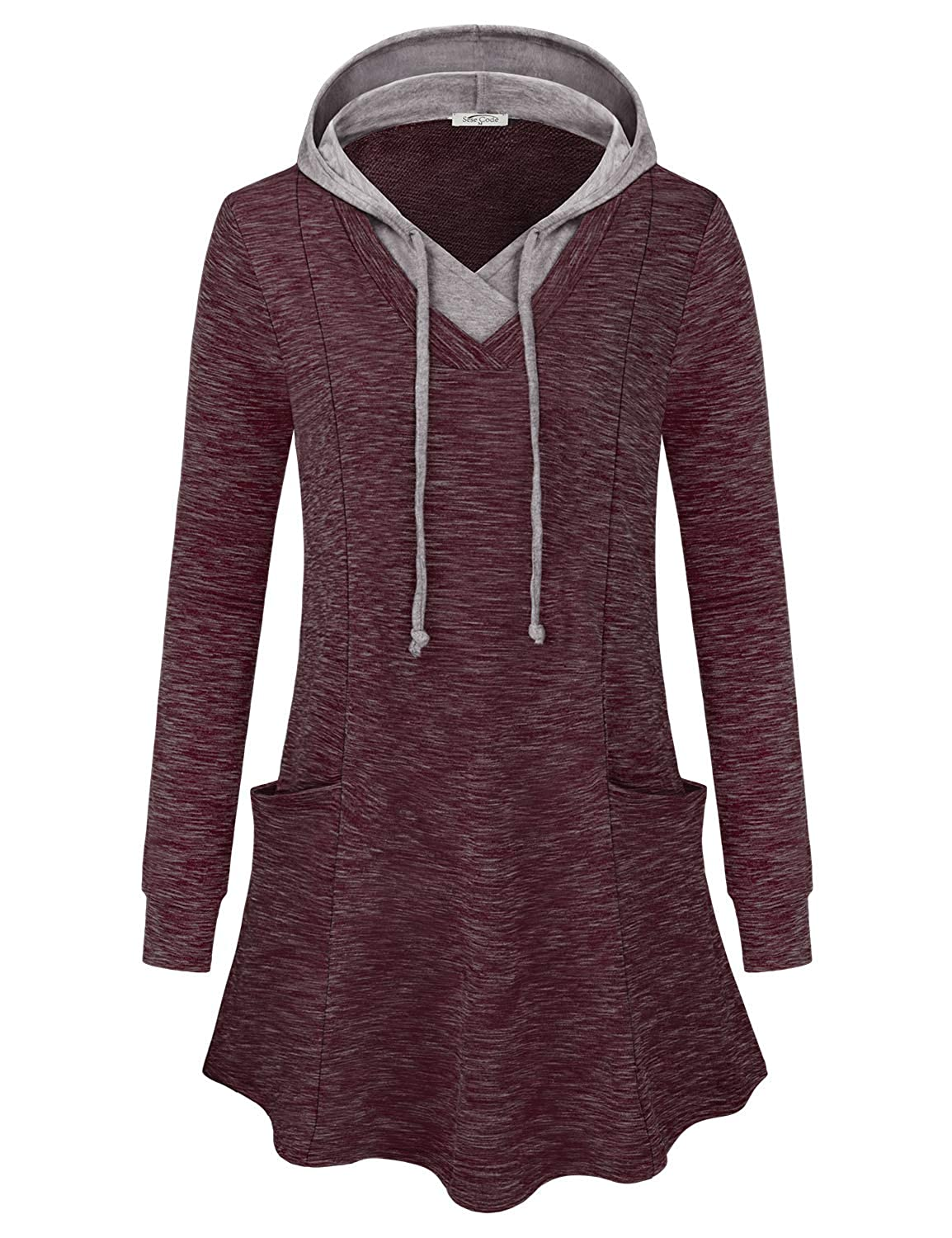 SeSe Code Women Long Sleeve V Neck Pullover Hooded Sweatshirt with Pockets