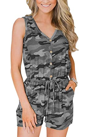 270858237ecef chimikeey Womens Rompers Sleeveless V Neck Drawstring Button Camo Jumpsuits  Romper