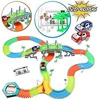 infinitoo Tracks Magique Circuit de Voiture Flexible Tracks Car | Une Piste 220 Pièces Modulable au Néon+2 Voitures Lumineuses + 40 Accessoires| Cool Cadeau pour Enfants à Partir de 3 Ans