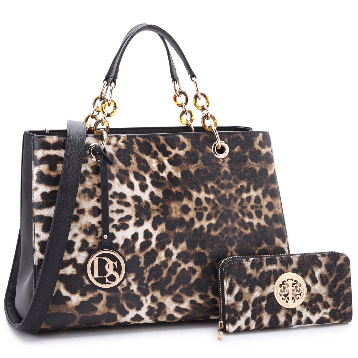 MKP Collection Chain Strap Satchel~Beautiful Handbag with Wallet Set~Designer Purse for Woman. Fashion Purse and Shoulder handbag (2526W) Leopard