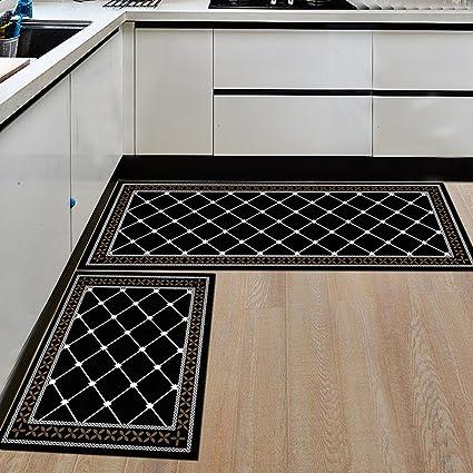 AiseBeau Set Of 2 Comfort Flannel Kitchen Rug Comfort Kitchen Floor Mat  Non Slip Kitchen