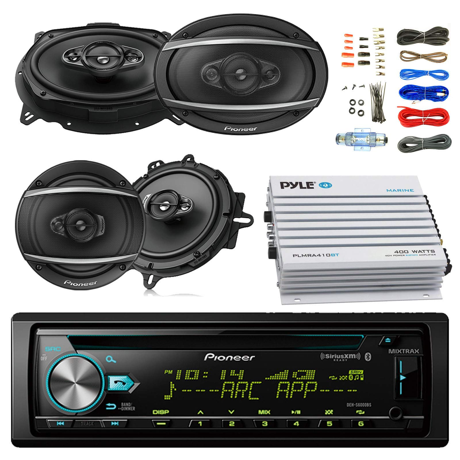 Pioneer DEH-S6000BS Car Bluetooth Radio USB AUX CD Player Receiver - Bundle with 2X TSA1670F 6.5'' 3-Way Car Audio Speakers - 2X 6.5-6.75'' 4-Way Stereo Speaker + 4-Channel Amplifier + Amp Kit