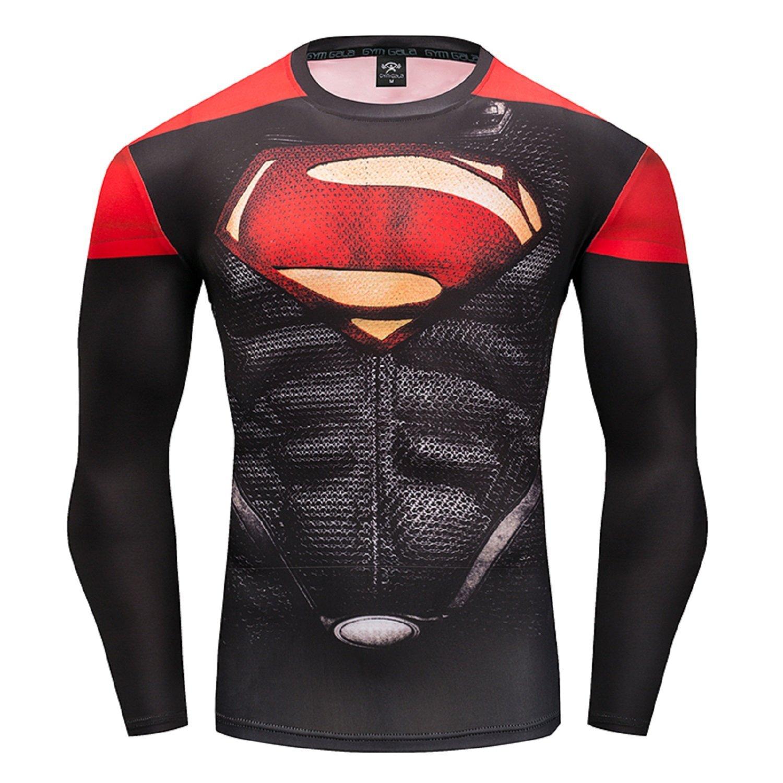 GYMGALA Long Sleeve Men's Superman Compression Shirt 3D Pattern Casual T Shirt B121-174