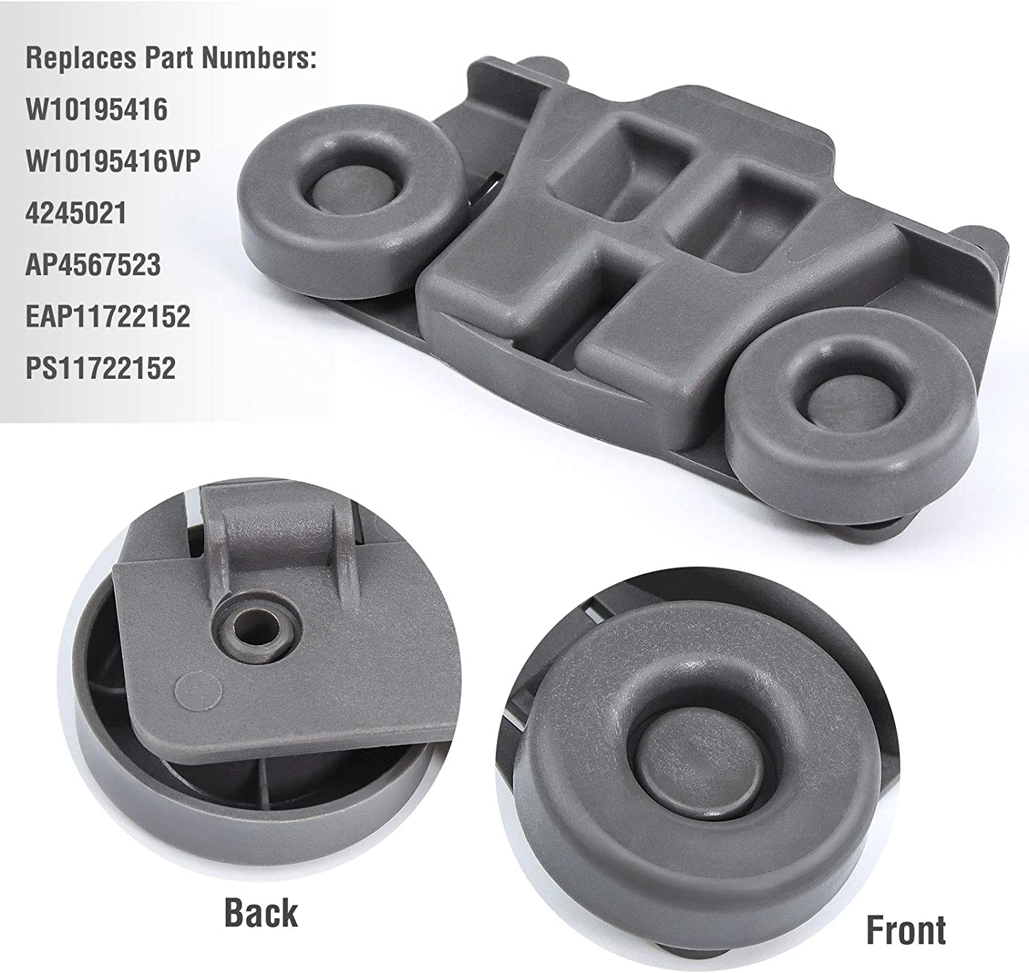 4 PacksW10195416 Dishwasher Wheels Lower Rack for kitchenaid,whirlpool,maytag,kenmore Dishwasher Parts.ReplacementW10195420,AP5983730,Wdt780saem1,W10195416V