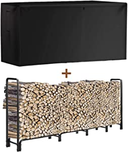 INRLKIT Outdoor Firewood Rack with Cover Adjustable Size, 8 ft Strong Heavy-Duty Tubular Steel Fire Wood Storage Holder, Stable Wood Stacker for Fireplace, Waterproof, Dustproof, Black