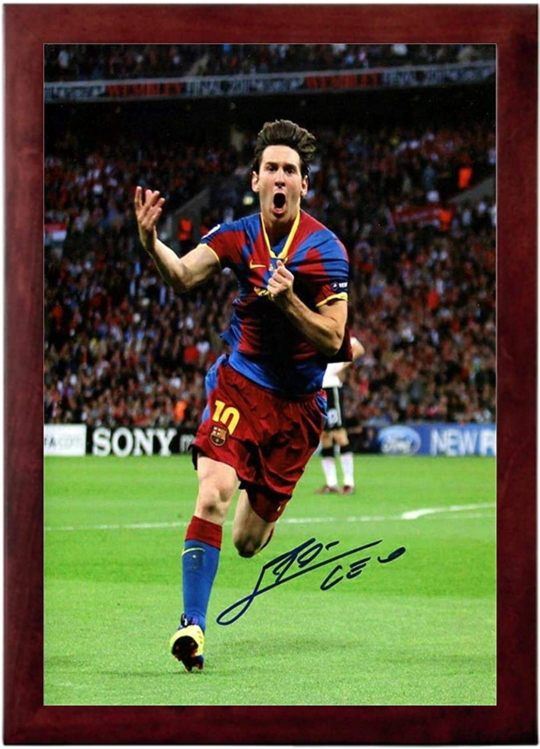 Signed 12x8 Black Soccer Lional Messi Barcelona Cristiano Ronaldo Real Madrid Autographed Photo Photograph Football Picture Frame Gift A4