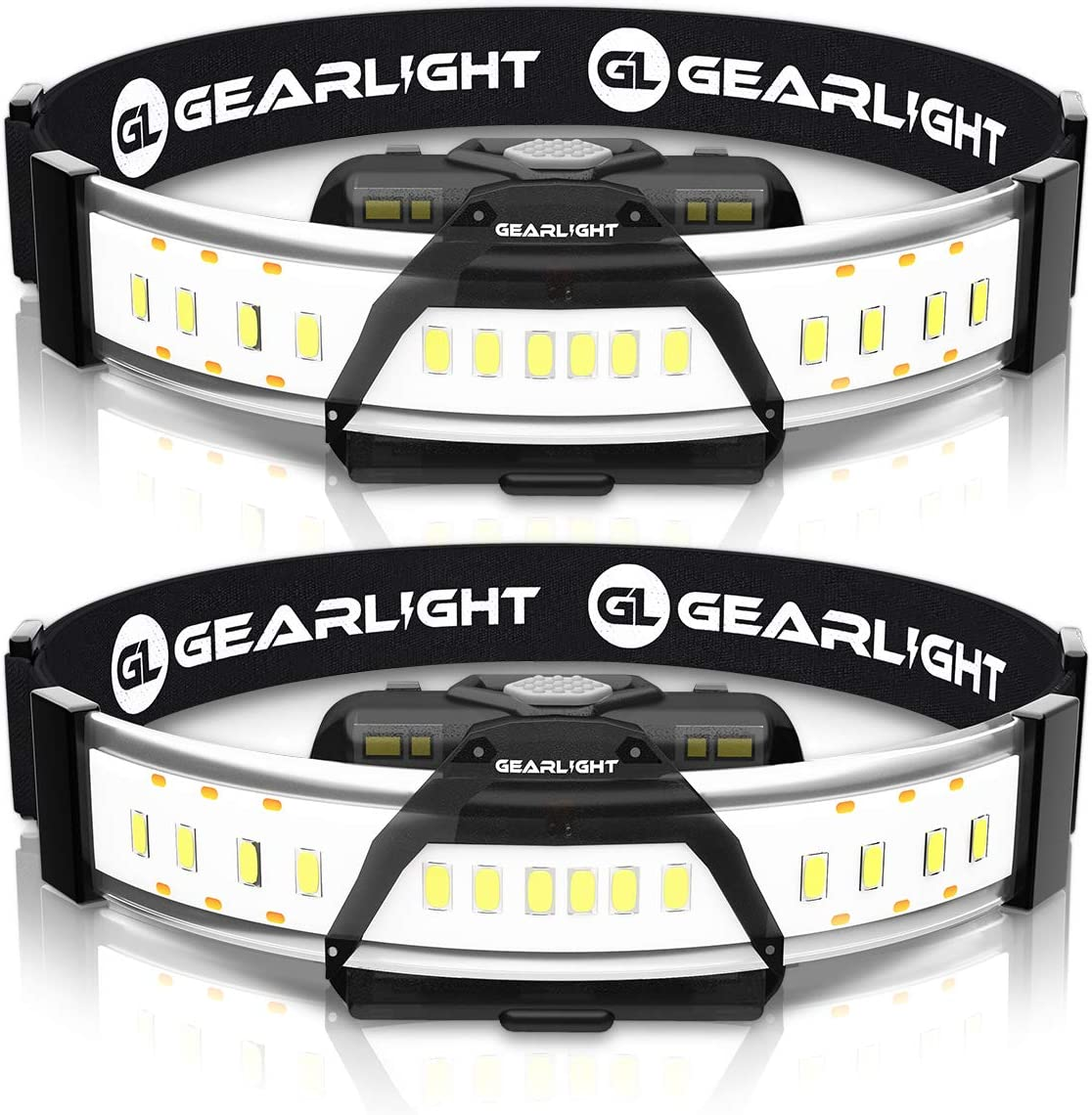 GearLight 180° Broad Beam LED Headlamp Flashlight F300 [2 Pack]