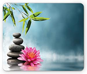 Ambesonne Spa Mouse Pad, Spa Theme with Lily Lotus Flower and Rocks Yoga Style Purifying Your Soul Theme, Rectangle Non-Slip Rubber Mousepad, Standard Size, Blue Pink
