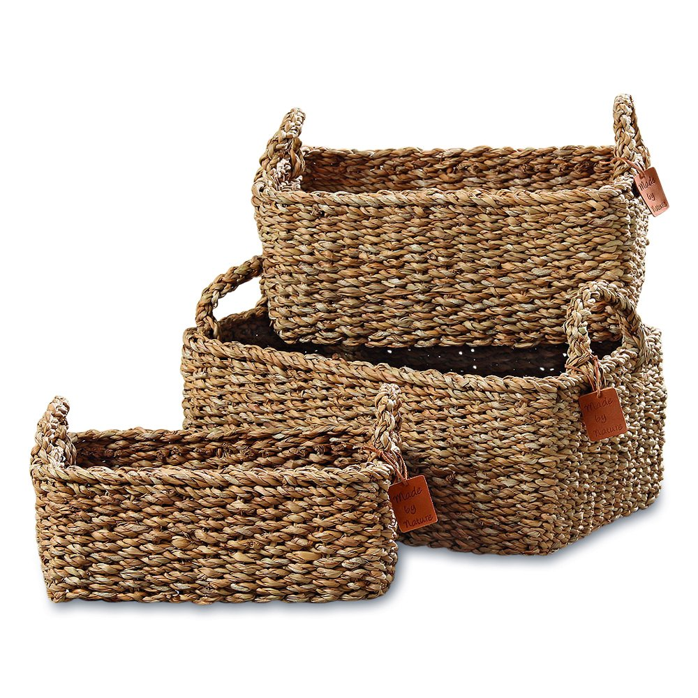 The Made by Nature Rectangular Rustic Chunky Weave Seagrass Nesting Baskets with Top Side Handles Various Sizes Approx By Whole House Worlds 6.64 And 7 Inches Long Set of 3 14 11