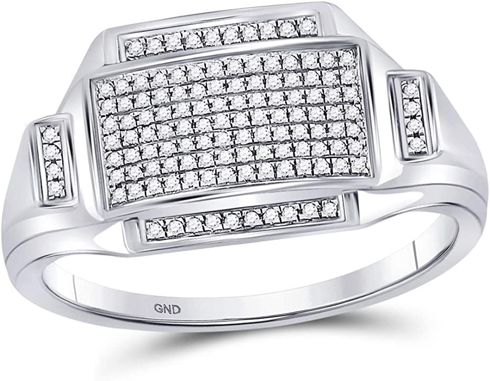 Jewels By Lux Sterling Silver Mens Round Diamond Rectangle Cluster Fashion Ring 1//4 Cttw In Pave Setting I2-I3 clarity; J-K color
