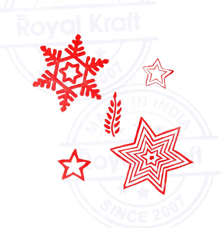 Royal Kraft Handmade Shapes Paisley and Border Wood Block Print Stamps Set of 5