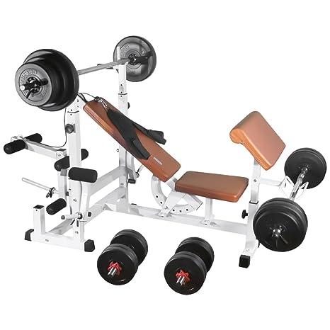 TrainHard Banco de ejercicios con 100 kg de discos de pesas ...