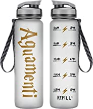 LEADO 32oz 1Liter Motivational Water Bottle with Time Marker - Aguamenti HP Fans Merchandise - Funny Potterhead Birthday Gift