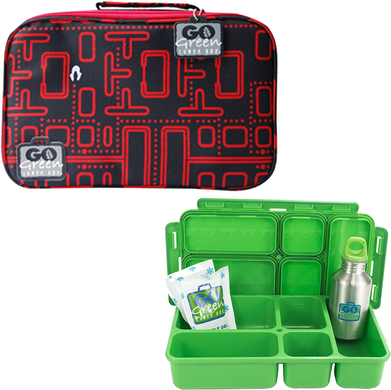Go Green Lunch Box Set • 5 Compartment Leak-Proof Lunch Box • Insulated Carrying Bag • Beverage Bottle • Gel Freezer Pack | Adults and Kids (Packman)