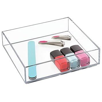 iDesign boîte de rangement pour tiroir de salle de bain ou cuisine, grand  organisateur tiroir en plastique sans BPA, rangement maquillage empilable  ...