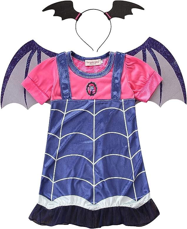 YOSICIL Disfraz de Vampirina Vampiro Historieta Princesa Vestidos de Fiesta Juego de Vampiro con Diadema y Alas de Murciélago Bebé Infantil 2-8 Años