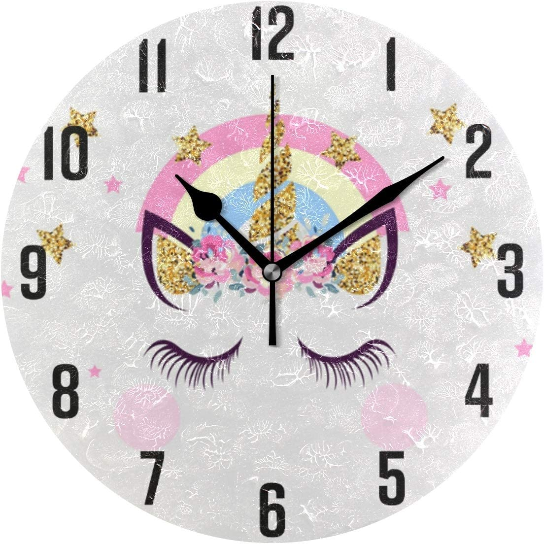 FULUHUAPIN Pink Unicorn Bathroom Bedroom Wall Clock for Kids Girl Non Ticking Quiet Easy to Read for Kitchen Decor 9.5 Inch Round Clock 2031712