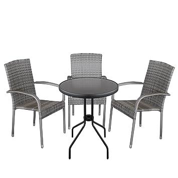 4 piezas. Bistro Muebles de Jardín Mesa Mesa de cristal Ø60 cm + ...