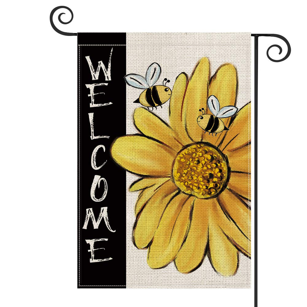 AVOIN Summer Welcome Watercolor Bee Sunflower Garden Flag Vertical Double Sided, Holiday Party Yard Outdoor Decoration 12.5 x 18 Inch