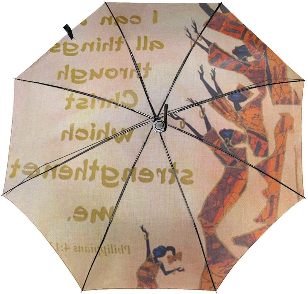 Christ Who Strengthens Me Automatic Open Folding Compact Travel Umbrellas For Women