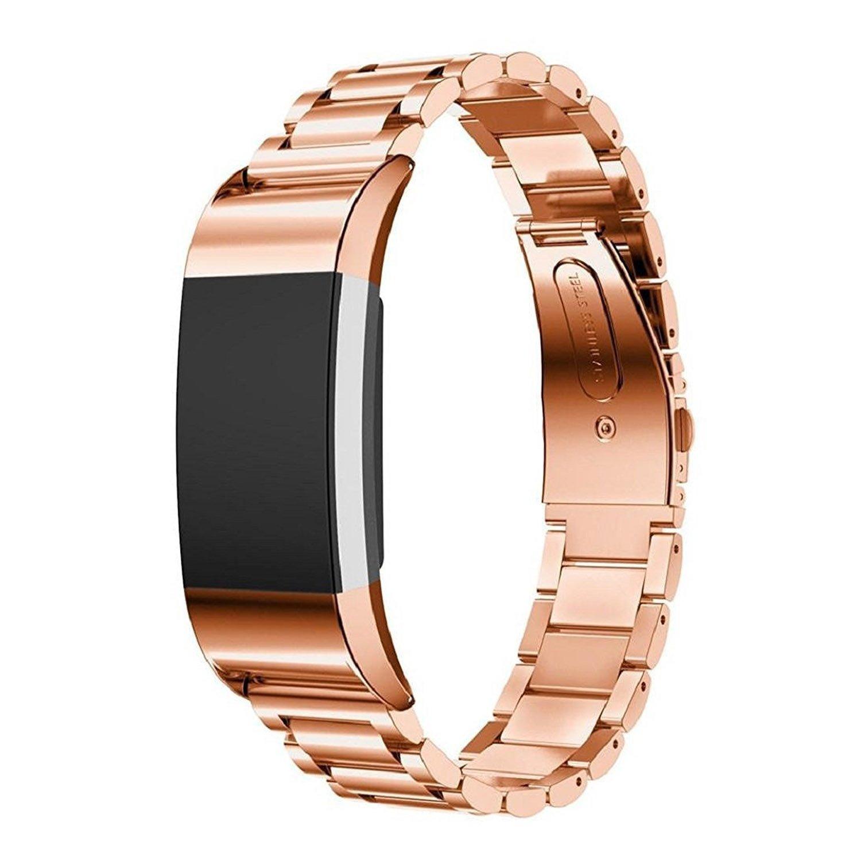 バンドfor Fitbit Charge 2、ファッション豪華なステンレススチール交換スマートブレスレット腕時計手首バンドストラップ時計バンドfor Fitbit Charge 2  ローズゴールド B075NZSBD2
