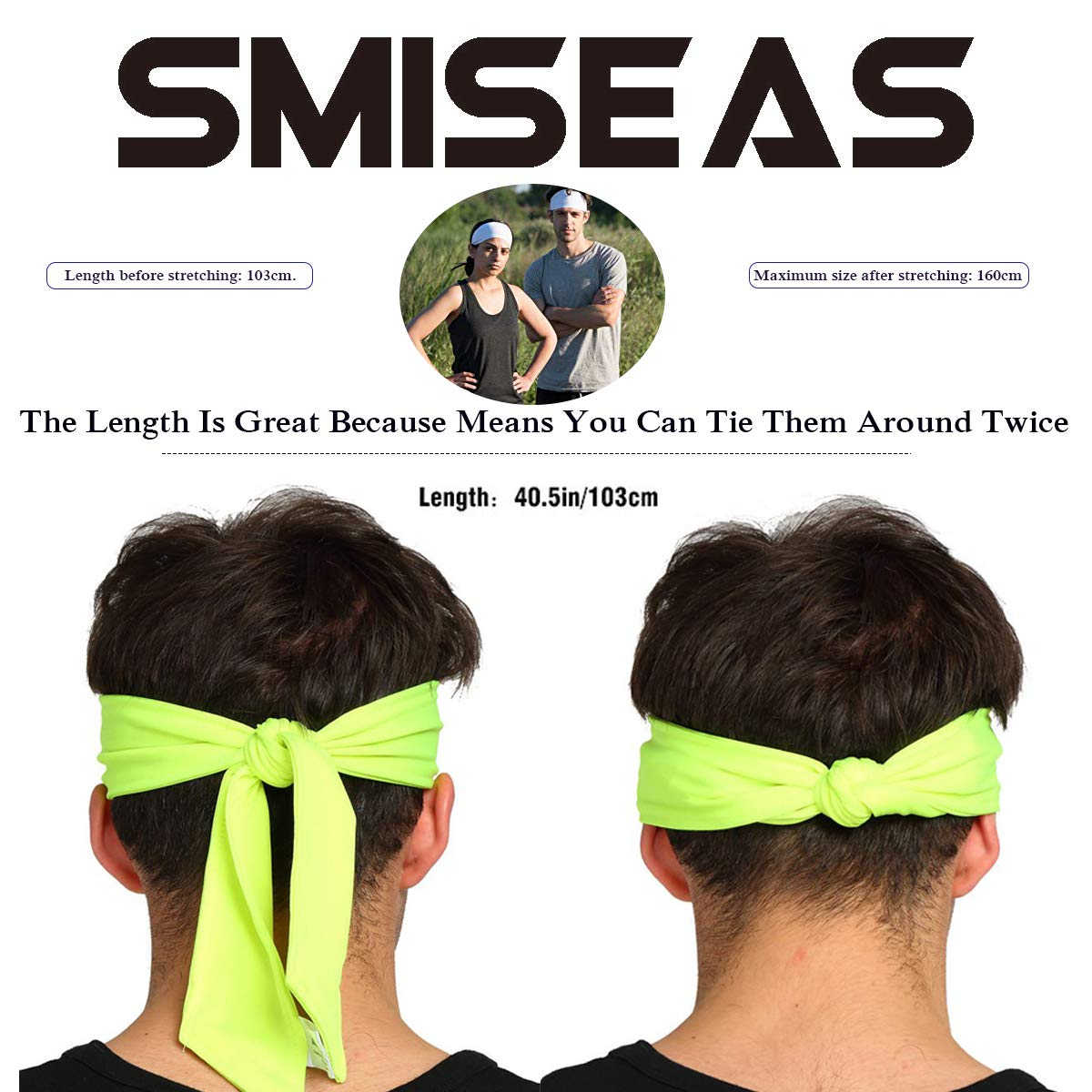 Crossfit Yoga Cycling Basketball Mens Sweatband /& Womens Headband with Perfect Sweat Absorption/&Non Slip for Running Stretchy Moisture Wicking Hairband SMISEAS Sports Head Ties for Men