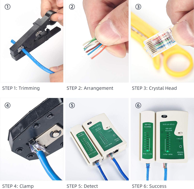 Professional Testeur de Network kit de Bo/îte /à Coffret Outils de r/éparation de R/éseau Avec Pinces d/électricien Testeur de C/âble RJ45 Outil de Sertir