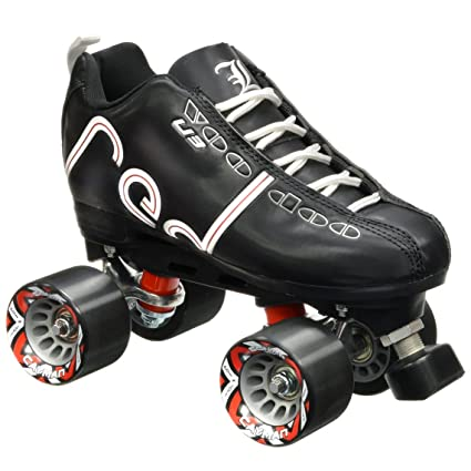 Labeda Voodoo U3 Quad Customized Black Roller Speed Skates with Black Cayman Wheels 8