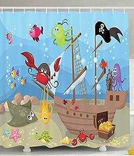 Kids Shower Curtain Baby Nursery Decor By Ambesonne, Ocean Octopus Treasure  Sunken Ship Pirate Sail