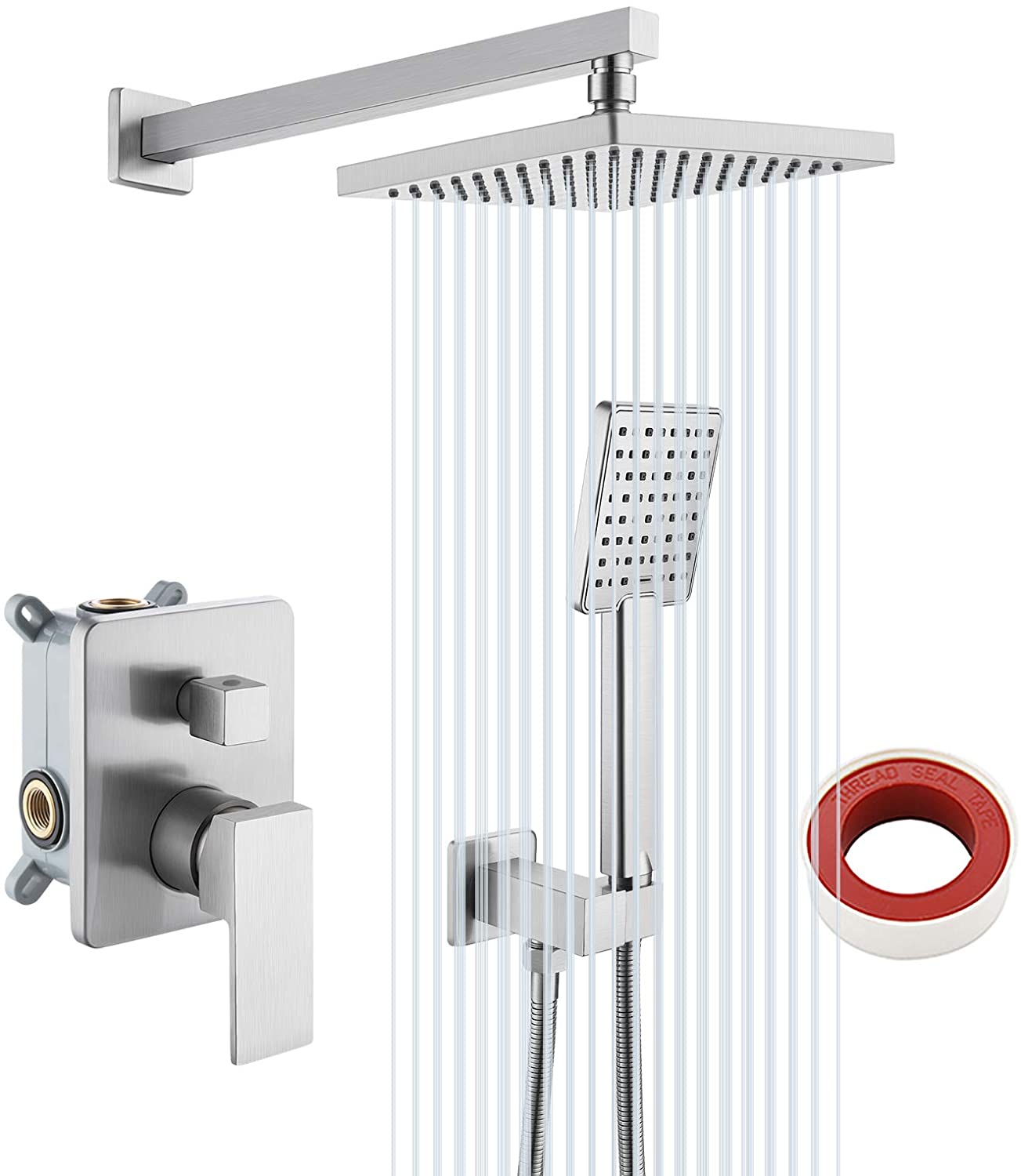 """Shower Faucet System Set 8 inch Rainfall W// Hot//Cold Control Handle 1//2/"""" DN15"""