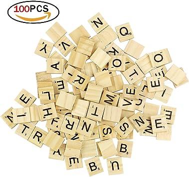 100 Baldosas de Scrabble Azulejos de Madera Baldosas de la Letra de DIY para la Educación de los Niños de Preescolar y el Crucigrama: Amazon.es: Juguetes y juegos