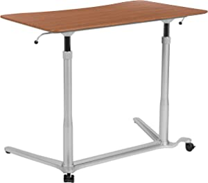 "Flash Furniture Sit-Down, Stand-Up Cherry Computer Ergonomic Desk with 37.375""W Top (Adjustable Range 29"" - 40.75"")"