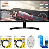 "LG 34"" IPS WFHD Ultrawide Freesync Monitor 2017 Model (34UM60-P) with 2x 6ft High Speed HDMI Cable, Screen Cleaner for LED TVs & Transformer Tap USB w/ 6-Outlet Wall Adapter and 2 Ports"